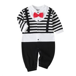 little man baby clothes UK - Newborn Baby Boy Romper 2020 Spring Long Sleeves Bowtie Style Baby Clothes Little Gentle Man Baby Jumpsuits