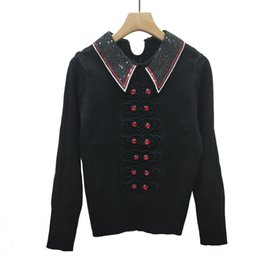 Diamond Stitch Jacket Australia - Slim Bottoming Knitting Blouses Female College Wind Net Red Diamond Insert Winter Within Set Up Jacket Sequins A Doll Collar Pullover