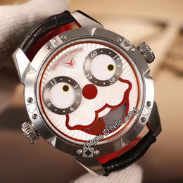 Smiling watch online shopping - Unique Smiling Face Creativity Konstantin Chaykin Joker Red Dial Swiss Quartz Mens Watch CNC Grinding Steel Case Leather Gents New Watches