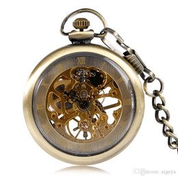 Vintage bronze fob watch online shopping - Hot Hand Wind Mechanical Steampunk Pocket Watch with Chain Classic Bronze Open Face Fob Watch Men Women Vintage Pendant