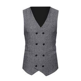 $enCountryForm.capitalKeyWord Australia - Tweed Check Double Breasted Waistcoat Retro Slim Fit Suit Jacket Casual Breasted Chalecos Para Hombre Sleeveless Blazer Men B1