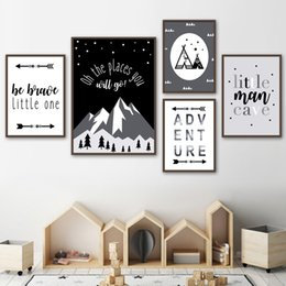 Canvas art for kids rooms online shopping - Cartoon Mountain Arrow Star Sky Wall Art Canvas Painting Nordic Posters And Prints Black White Art Wall pictures For Kids Room