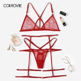 29f057971e0 COLROVIE Red Harness Sheer Garter Lingerie Set Women Intimates 2019 Summer See  Through Sexy Bra And Panties Underwear Set