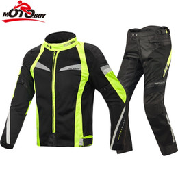 yellow jacket fabric 2019 - 2018 Motoboy new summer motorcycle jacket Sets Oxford Fabric Jacket Motorcycle Suit mesh fiber cool Jacket&Pants J17 P17