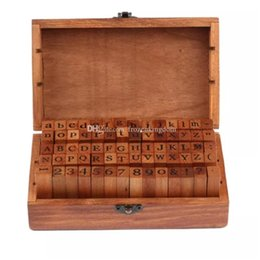 numbers stamp set NZ - DHL Free shipping 25set 70pcs set Number and Letter Wood stamp Set Wooden Box Multi-purpose stamp DIY funny work 2017101606