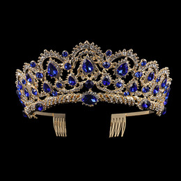 $enCountryForm.capitalKeyWord Australia - uropean Blue Crystal Crown Gold Vintage Rhinestone Pageant Royal Tiara With Comb Baroque Wedding Hair Accessories For Bride European Blue...