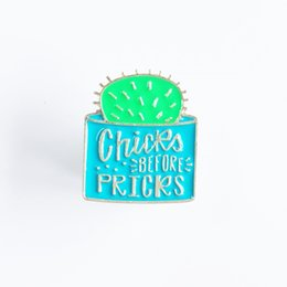 $enCountryForm.capitalKeyWord NZ - Chicks Before Pricks Prickly Pear Potted Metal Enamel Brooch Personality Special Plant Pot Badge Pin Trendy Backpack Jewelry