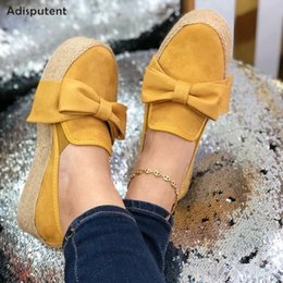 nice sneakers Australia - Adisputent Spring Women Flats Shoes Platform Sneakers Nice Slip On Bow Flats Leather Suede Ladies Loafers Moccasins Casual Shoes