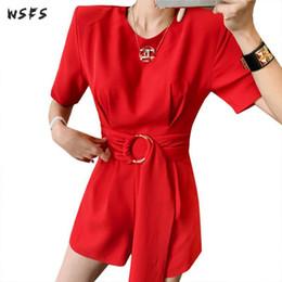 $enCountryForm.capitalKeyWord NZ - Summer Jumpsuits Red Shorts Sleeve Ruffles Mini Short Hot Pants Slim Ladies Bodysuit Trousers Casual Sexy Rompers Women Jumpsuit