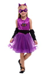 China Shanghai Story Cat Halloween Costume for Girls Catwoman Cosplay Purple For children cheap catwoman cosplay suppliers