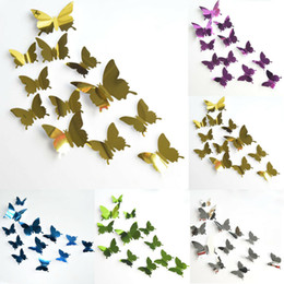 butterfly mirror wall art 2021 - 12pcs set Mirror Wall Stickers Decal Butterflies 3D Mirror Wall Art Home Decors Butterfly Fridge Wall Decal On Sale 9.25