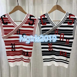 Grils Shirts Australia - High-end women grils SLEEVELESS shirts tees V-Neck shirts with button Brand Same Style Pullover jacquard blouse with letter stripes tees