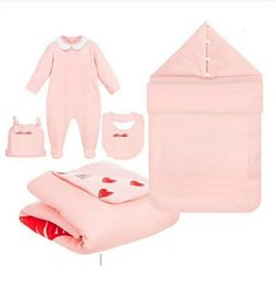 fiber grade NZ - Multi Pattern Baby Jumpsuit+hat+big+quilt+sleeping bag 5 pc set Summer 2020 0-6 Newborn Infant baby Bedding Soft Special Products