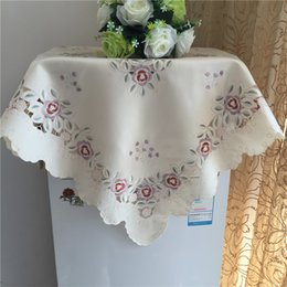 square embroidery tablecloths 2019 - 83CM Luxury Square Satin European Table Cloth Embroidery Kitchen Tablecloth Cover Mantel Christmas Wedding Party Decor d