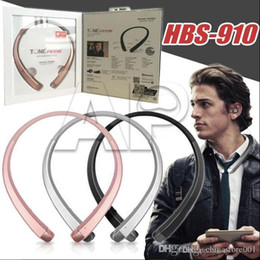lg tones bluetooth headset UK - 10pcs HBS 910 TONE INFINIM Headphones upgrade HBS 900 Wireless HBS910 Collar Best Quality Bbluetooth Stereo Headset 4.1 Sports Headphone