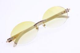 $enCountryForm.capitalKeyWord Australia - Wholesale Big Stones Glasses Vintage White Genuine Natural 3524012 Rimless Sunglasses Round Unisex designer High end Diamond Oval Glasses