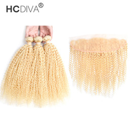 KinKy virgin hair blonde online shopping - Brazilian Virgin Kinky Curly Blonde Hair Bundle with Lace Frontal Grade Color Bundles Hair with Closure
