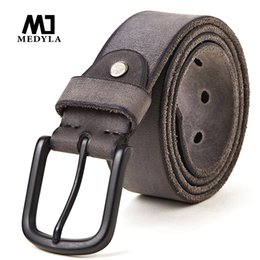 casual belts for jeans Canada - Medyla Leather Casual Design Belt's For Men Jeans Casual Pants Men's Leather Belt Men's Gifts Length Of 130cm Wide 3.8cm C19041101