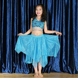 $enCountryForm.capitalKeyWord Australia - Blue Children Fashion Sequin Belly Dance Suit Modern Kids Short Skirt BellyDance Show Performance Clothing Girl Nation Dancing