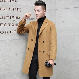 $enCountryForm.capitalKeyWord Australia - High quality hand made pure 100% wool coat men medium long turn down collar double breasted woolen trench outerwear