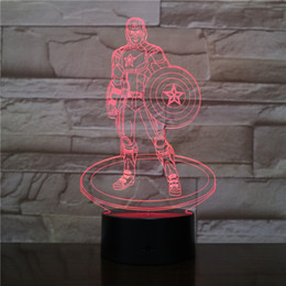 captain america lamp Australia - Captain America 3D Optical LED Lamp Illusion Light Acrylic Light Panel Gift Decoration Battery Bin DC 5V USB Powered Factory Wholesale