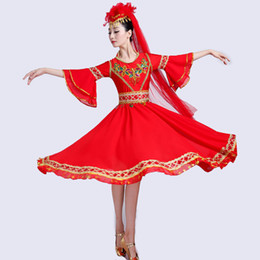 $enCountryForm.capitalKeyWord UK - Xinjiang Uyghur Dance Clothes Adult ethnic Costume India Dance Pendulum Skirt Chinese folk dancer red stage wear