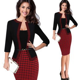$enCountryForm.capitalKeyWord Australia - Hgte Womens Autumn Retro Faux Jacket One-piece Polka Dot Contrast Patchwork Wear To Work Office Business Sheath Dress Y19041001