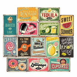 vintage metal poster Australia - Lemonade Drink Candies Vintage Tin Signs Cafe Bar Pub Club Restaurant Retro Wall Decor Metal Poster Iron Painting Home Decor