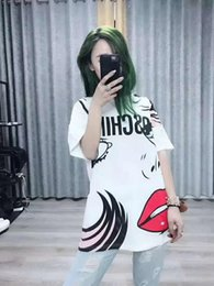 Discount red lips clothing - Women Tshirt High Quality Designer Angel Tears Doodle Short Sleeve Sexy Red Lips Print T-Shirt Luxury Womens Clothing S-