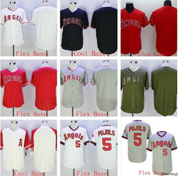 Discount pullover baseball jerseys - Pullover Wholesale hot selling Angels blank #5 Pujols Flexbase Coolbase white blue Baseball Jerseys men Shirt Stitched b