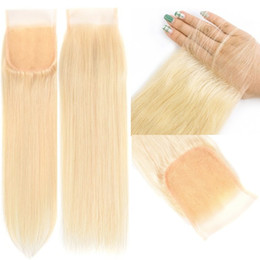 beautiful silky hair Canada - 4x4 Lace Closure 10A Blonde Color #613 Silky Straight European Virgin Human Hair Lace Top Closure for Beautiful Woman Fast Free Shipping