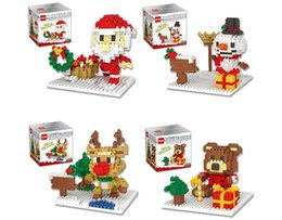 Kids Blocks Wholesale Australia - Christmas Building Blocks 3D Assembly Santa Claus snowman deer bear ABS Plastic Miniature Action Figures box package For Kids toys