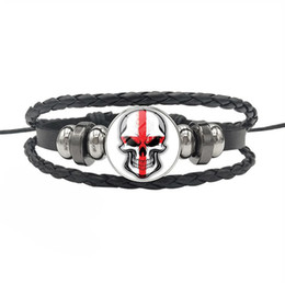$enCountryForm.capitalKeyWord Australia - Beautiful England National Flag Time Gem Glass Cabochon Skull Series Charm Leather Rope Beaded Bracelet For Women Men Jewelry Gift Wholesale