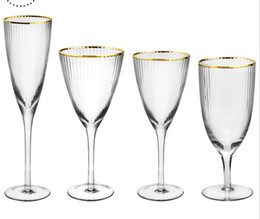 $enCountryForm.capitalKeyWord Australia - wholesale custom hand blown clear crystal glass champagne glasses 300ml-500ml stem champagne coupes with gold rim