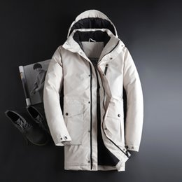 White extra long coat online shopping - Mens Hooded Extra Long Duck Down Padded Jackets Man Thick Winter Down Coats Male Fashion Long Overcoat Keep Warm Outerwear