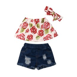 Floral Print Shirts Baby UK - 1-6Y Kids Girls Summer Clothes Set 2019 Fashion Baby Girl Floral Printed Bandeau Crop Top T-Shirt Denim Shorts Outfit Clothes