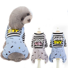 Girl Puppy Clothing Australia - Pet Dog Clothes letter GOOD BOY GIRL Jumpsuits Striped Small Dog Rompers Puppy Overalls Summer Pet Supplies Striped coats FFA2175
