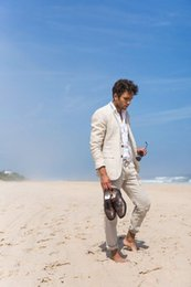 Groom suits for beach weddinG online shopping - Custom Made Summer Linen Suits Men Casual Ivory White Beach Wedding Suits For Men Groom Best Party Prom Suit Ternos Pieces