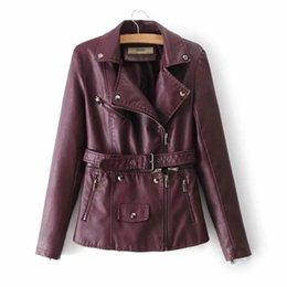 Coat Pu Zipper Australia - Fashion Casual Belt Zipper with Two Pu Jackets Coats Outerwear Separate Leather Outerwear European Station Women's PU Leather