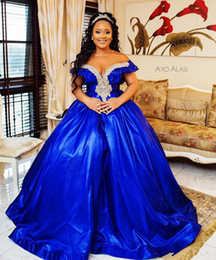red off shoulder sparkly dresses Australia - Royal Blue Plus Size Prom Dresses 2020 Modern Off Shoulder Sparkly Crystal Beaded Puffy Skirt Arabic Evening Reception Gowns