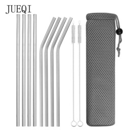 $enCountryForm.capitalKeyWord Australia - Reusable Metal Drinking Straws 304 Stainless Steel Sturdy Bent Straight Drinks Straw with Cleaning Brush Bar Party Accessory D19011702