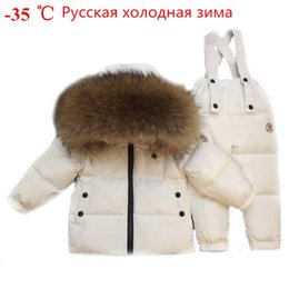 Baby Winter Suit Overalls NZ - Russian Winter Toddler Clothes Set Baby Duck Down Suit Boys Clothing Kids Tracksuits Children Snow Wear Thick Coat Fur Overall