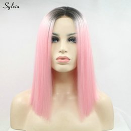 Color Hair Pastels Australia - Drag Queen Wig Pink Color Hair Synthetic Lace Front Wigs For Women Short Bob Haircut Heat Resistant Flawless Pastel Wig