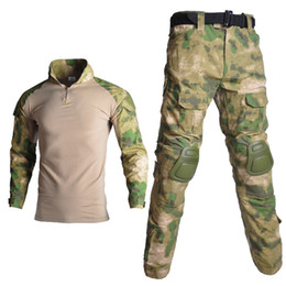 $enCountryForm.capitalKeyWord UK - Male Tactical Camouflage Uniform Clothes Suit Army Hiking Clothes Sets Combat Shirt + Cargo Pants Knee Pads
