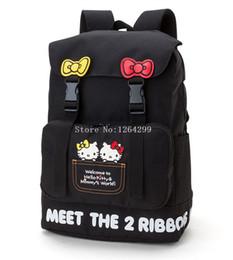 Kids Oxford Girls UK - New Fashion Hello Kitty Girls Cartoon Big Oxford Black Students School Bags Kids Backpack Bag For Children