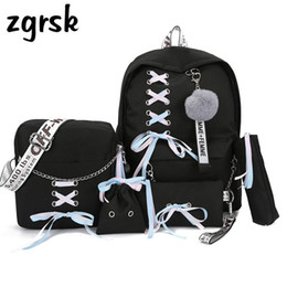 $enCountryForm.capitalKeyWord Australia - Chain Usb Canvas 3pcs set Women Backpack Teenager Girls Backpacks Shoulder Bag Female Student School Bags Tassel Y190627
