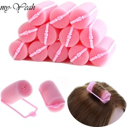 Set Hair Curls Roller Australia - Styling Tools Hair Rollers 12pcs set Pink Soft Sponge Foam Cushion Hair Rollers Curlers Salon Barber DIY Curls Hairdressing Tool Kit