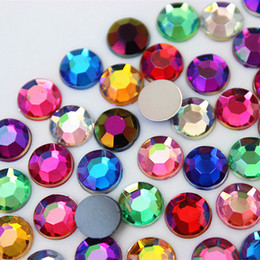 Sew Rhinestones For Clothes Australia - 200pcs 8mm Round Rhinestones Flat Back Acrylic Gems Crystal Stones Non Sewing Beads for DIY Jewelry Clothes ZZ759