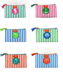 Canvas Prints Wholesalers Australia - 100pcs 12cmx19cm 2019 New Stripes Cosmetic Bag European and American Women Canvas Sea Horse Printed Storage Coin Purses With Tassel