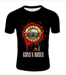 New Fashion Punk T Shirt Guns N Roses T-shirt dos homens T-shirt preto Heavy Metal Tops Gun Rose 3D Imprimir Vestido Hip Hop Tees